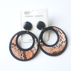 Fashion Jewelry Big Circle Snake Skin Earrings